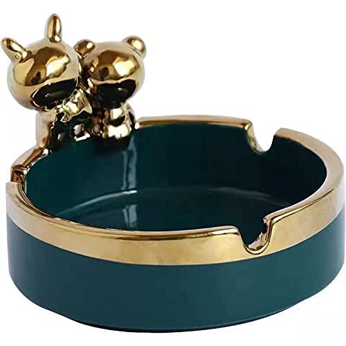Cenicero divertido cerámica maleza accesorios fumar aparato decoración del hogar adornos 9*6.5cm verde