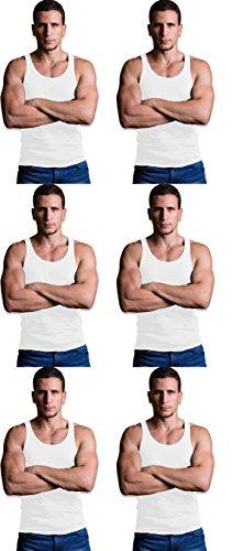 Andrew Scott Men's 6 Pack Cotton A-Shirt Tanks (Medium, White)