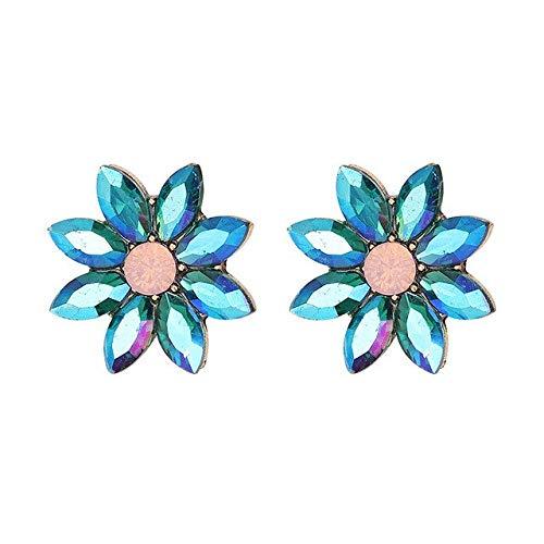 Luxury Stud Earrings Opal Stone Women Fashion Retro Crystal Trendy Wedding Jewelry For Women Blue AB