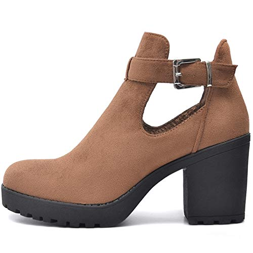 SALIN Shoes© Plateau Boots Stiefeletten in Cut Out Style (40 EU, Camel Samt)