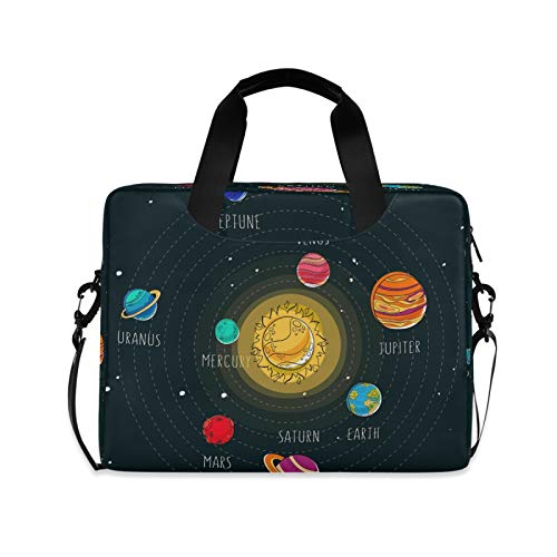 Yulife Solar Space Planets Laptop Bag Sleeve Case for Women Men Sun Earth Nebula Briefcase Tablet Messenger Shoulder Bag with Strap Notebook Computer Case 14 15.6 16 Inch for Kids Girls Business
