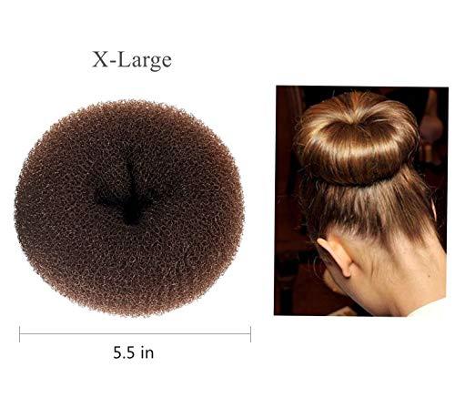 Sunnysam 1 Pcs Extra ÉNORME X-Grande Taille Cheveux Bun Donut Maker, Ring Style Bun, Femmes Chignon Donut Buns Donut Shaper Hair Bun Maker (Uniquement pour Les Cheveux épais et Longs) 5,5 po
