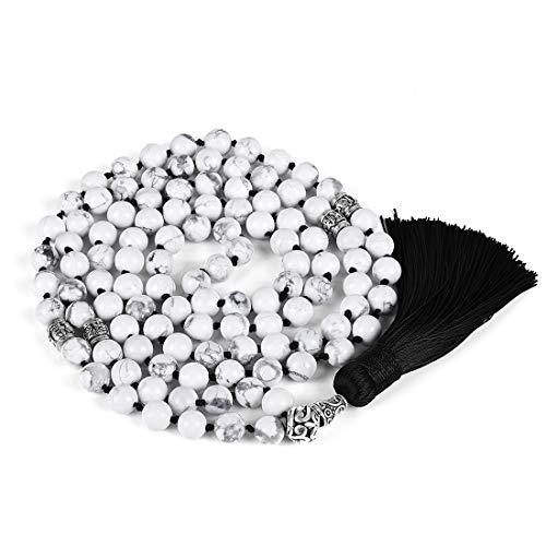 Cat Eye Jewels Chakra Necklace 8mm Prayer Mala Beads Necklace 108 White Howlite Turquoise Beaded Tassel Pendant Necklaces for Women Men 006