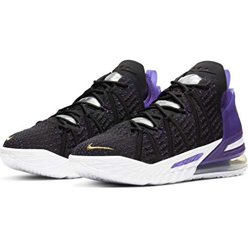 Nike Hombres Lebron 18 Zapatos De Basquetbol, negro (Blk/Mtlc Gld/Crt Prpl), 41.5 EU