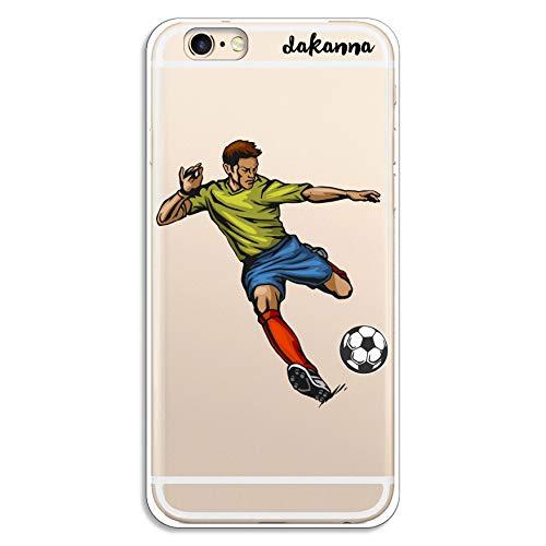 dakanna Funda para iPhone 6-6S | Jugador de Fútbol | Carcasa de Gel Silicona Flexible | Fondo Transparente