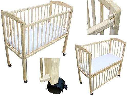 Beistellbett Babybett 90x40 cm mit Matratze und Räder höhenverstellbar kiefer natur