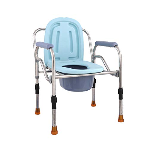 HRD Silla De Servicio Casa/Silla WC con Tapa/Plegable/Asiento Ergonómico/Silla WC-Inodoro/Regulable En Altura