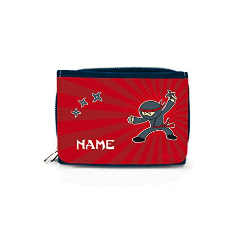 Striefchen® Kinder Geldbörse mit Ninja und dem eigenem Namen mit Geschenkverpackung