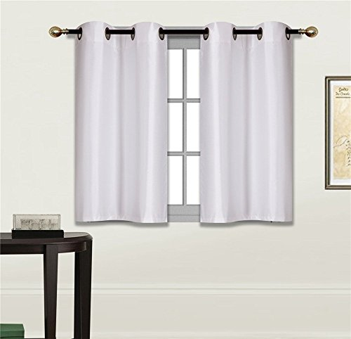 """Elegant Home 2 Panels Tiers Grommets Small Window Treatment Curtain Faux Silk Insulated Blackout Drape Short Panel 28"""" W X 36"""" L Each for Kitchen Bathroom or Any Small Window # D24 (White)"""