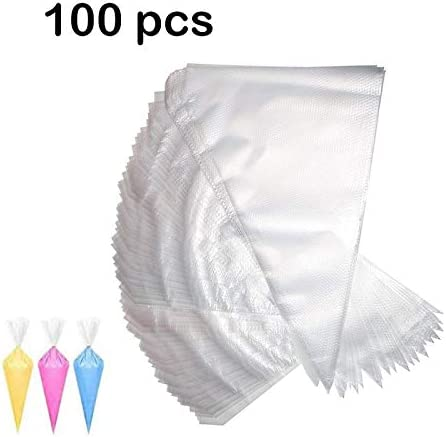 MAKS Bakeware Transparent Icing Piping Bags Disposable Frosting Piping Bags for Cake Pastry Cupcake Cookies Brownie D...