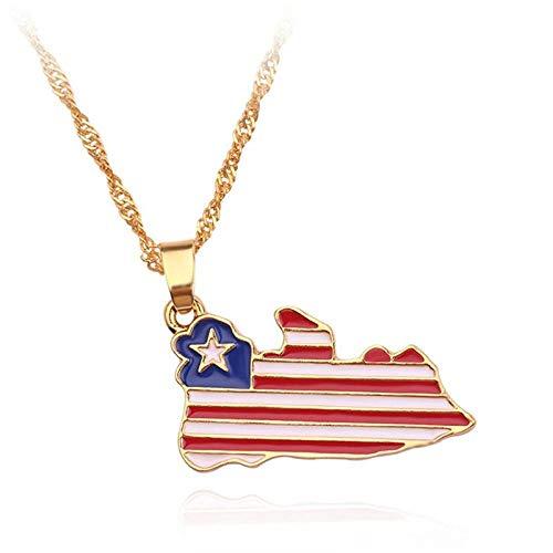 YOUHU Collar Mujer Mapa,Colgante De La Bandera Nacional De Metal De La Vendimia África Liberia Encantos del Mapa Mapa del País Africano Cadena Trenzada De Oro Mujeres Hombres Joyería De Moda Unisex