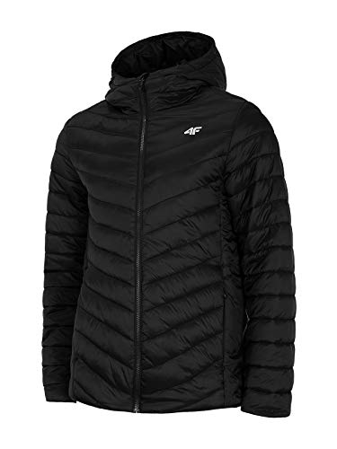 4F Herren Übergangsjacke | leichte Steppjacke | Daunenjacke in Grau Schwarz | Kapuzenjacke Outdoor | Warme Jacke für Herbst (Schwarz, L)