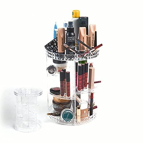 LANT STORE | Porta Trucchi Organizer Girevole | Organizzatore Trucchi Rotante A 360 Gradi | Contenitore Organizer Bagno | Makeup Storage Box Trasparente | Porta Creme Skincare E Pennelli.