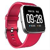 RTGFS Smart Watch wasserdichte Herzfrequenz Monitor Armband Blut Sauerstoff Druck Sport Tracker Smartwatch für rot rot