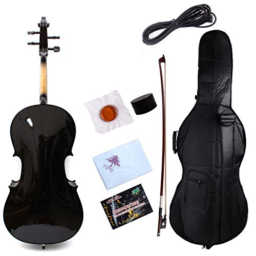 Yinfente Electric Acoustic Cello 4/4 Solid Maple Spruce wood Ebony Fittings Sweet Sound With Cello Bag Bow (Black)