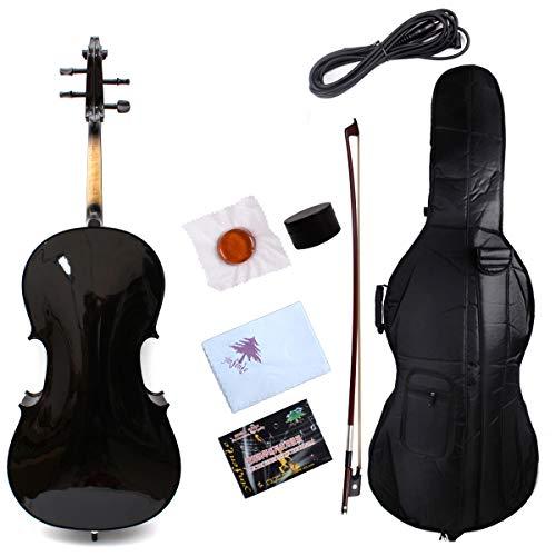 Yinfente Elektro-Akustik-Cello 4/4, massives Ahornholz, Ebenholzbeschläge, süßer Klang mit Cello-Tasche schwarz