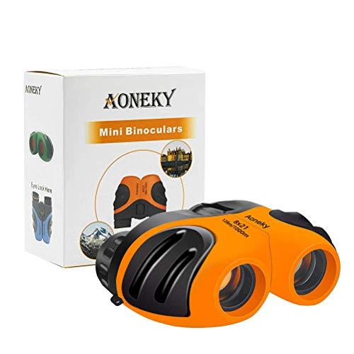 Aoneky Mini Binoculares Prismáticos para Niños 8×21 - Binoculares Compactos Juguete Infantil Ligero Portátil Seguro, para Observación Concierto Ópera Partido de Fútbol, Regalo de Cumpleaños (Naranja)