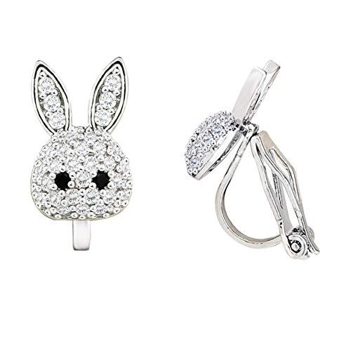 LAXPICOL Lovely Cute Rabbit Sparkly Crystal CZ Zircon Clip On Earrings For Girls Women Silver Tone