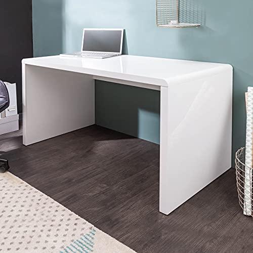 Invicta Interior Design Schreibtisch Fast Trade Hochglanz weiß 120cm Computertisch Bürotisch Tisch Laptoptisch