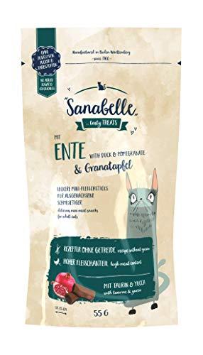 Sanabelle Snack eend en granaatappel   lekkere minivleessticks voor volwassen katten   20 x 55 g