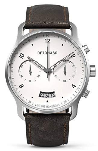 DETOMASO SORPASSO - Reloj de pulsera analógico para hombre (mecanismo de cuarzo, correa de piel italiana), color marrón oscuro