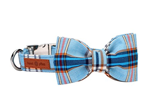 Lionet Paws Dog and Cat Collar with Bowtie ,Soft and Comfortable ,Adjustable Collar