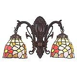 LINSLBFD Lámpara de Pared de Estilo Tiy, lámpara de Pared de Rosa con vitrales Vintage, 2 Luces, al Lado de la lámpara de Pared de Lectura para Pasillo, Sala de Estar, Dormitorio, baño, luz de Noche,