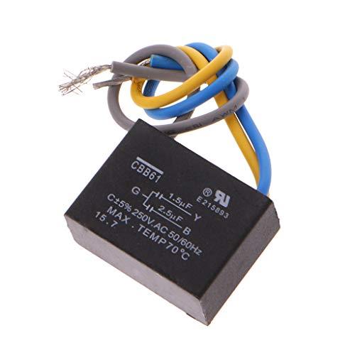 CBB61 - Condensador para ventilador de techo (1,5 uF + 2,5 uF, 3 cables, 250 V, 50/60 Hz), color negro