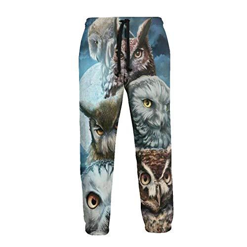 Inaayayi Night Moon Great Horned Owl - Pantalones deportivos con cordón para hombre y mujer
