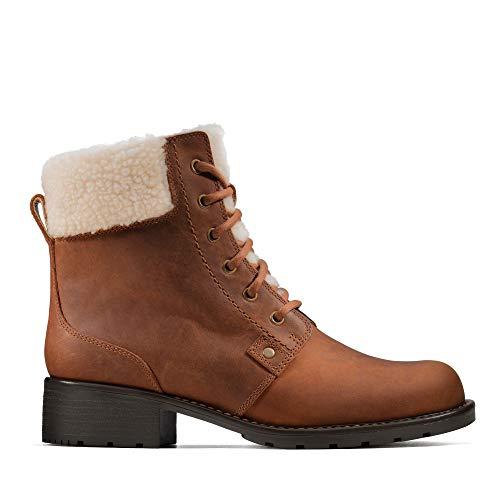 Clarks Orinoco Dusk, Botas Estilo Motero para Mujer, Marrón (Tan Leather Tan Leather), 39.5 EU
