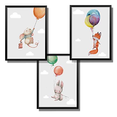 Kindsblick 3er Set Poster für Kinderzimmer - DIN A4 Kinderposter für Jungen & Mädchen - Motiv: Süße Luftballon Tiere - Grau - Wunderschöne Deko für jedes Kinderzimmer
