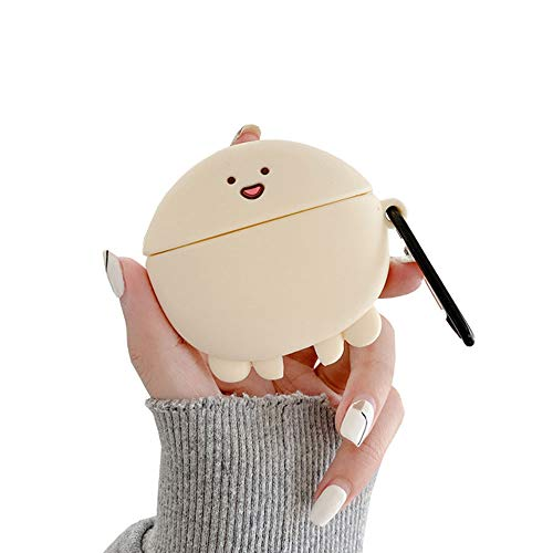 ICI-Rencontrer 3D Vivid Distinctive Fat Squid Cartoon Animals Design Airpods Case Kids Girls Women Cute Wireless Charging Earphone Soft Silicone Shockproof Protector for Airpods Pro White