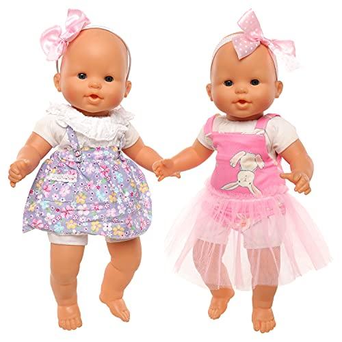 Miunana 2 Fashion Kleidung Outfits Kleider für Baby Puppen, Puppenkleidung für 35-40 cm Puppen