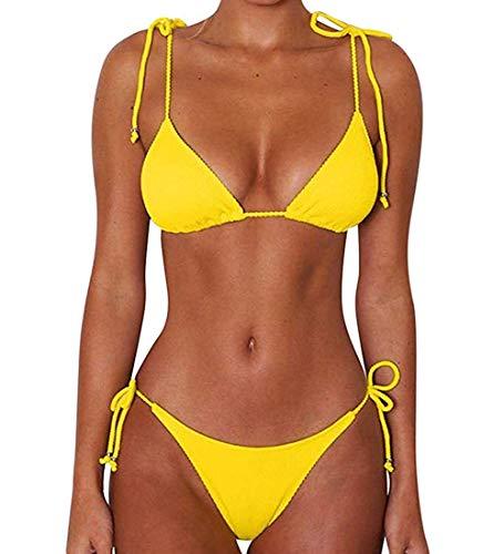 CheChury Damen Einfarbig Bandage Bikini Set Badeanzug Mit Triangle Bikinihose Brasilianische Badebekleidung Zweiteilig Push Up Bademode Swimsuit, Gelb M
