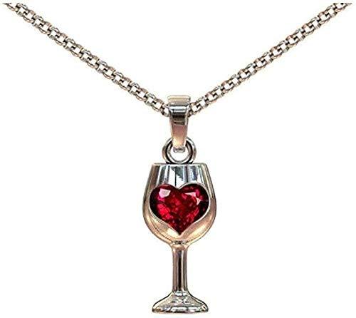 LBBYMX Co.,ltd Collar con diseño de Copa de Vino único, Collar con Colgante para Mujer, circonita roja, Collares de Torre de Sangre cúbica, Regalo del Día de San Valentín