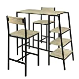 SoBuy OGT16-N Set de 1 Table + 2 Chaises Ensemble Table de Bar Bistrot + 2 Tabourets de Bar avec...