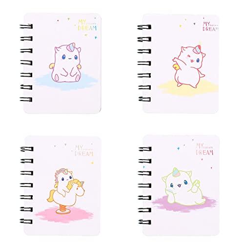 Portatile Mini Taccuino Notebook Mini Quaderni a Spirale Mini Blocco Note Anime Quaderno Unicorno Piccolo Diario Unicorno Per Promemoria, Pittura, Graffiti, Elenco, Scrittura Ricordi, Disegno, 4 Pezzi