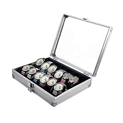 Caja para Relojes Caja de Metal 12 Ranuras de cuadrícula Reloj de Pulsera Mostrar Estuche de Almacenamiento Organizador Reloj de relojería Caja de exhibición de joyería Caja de Reloj G