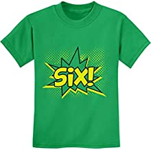 SIX Superhero Sixth Birthday Shirt 6 Years Old Gift Idea Kids T-Shirt X-Small Green