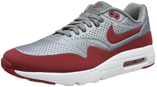 Nike Air Max 1 Ultra Moire Herren Sneakerss, Grau (Mtlc Cool Grey/Gym Red-White), 43 EU