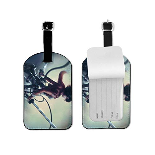 Anime Attack on Titan Luggage Tag Travel ID Identification Labels Set For Bags With Full Privacy Cover Business Card Holder For Trunk Information Address ID Label Accessories