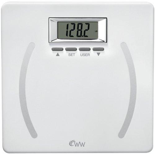 WW Scales by Conair Body Analysis Precision Bathroom Scale - Measures Body Fat, Body Water, BMI, Bone Mass, 4 User Memory, 350 lb. capacity