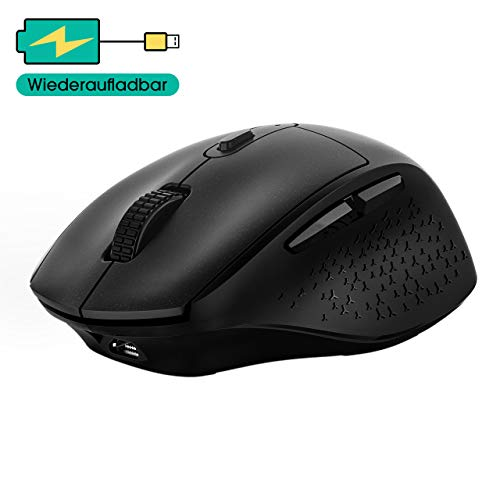 VicTsing Funkmaus Wiederaufladbar, (2020 Neuest) Maus Kabellos Laptop Maus Wireless mit 5 Einstellbare DPI / 6 Tasten, Schnurlose Mäuse 90% Geräuschreduzierung für PC, Tablet, Computer, Notebook