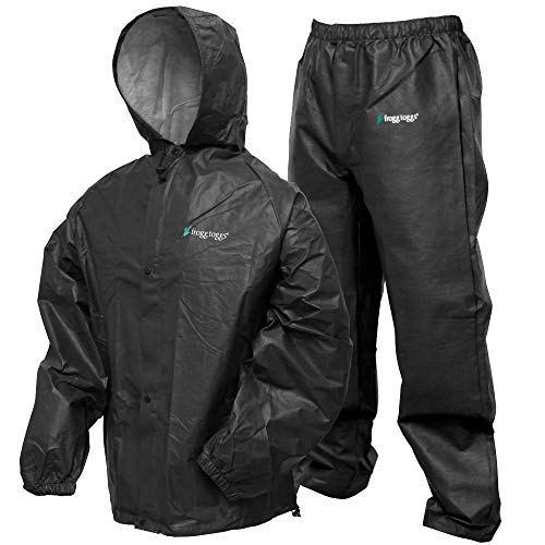 FROGG TOGGS Men's Pro Lite Waterproof Rain Suit, Carbon Black, Medium/Large
