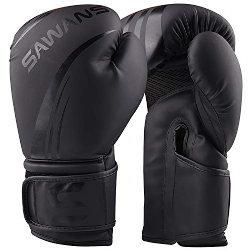 Sawans®, guantoni da boxe professionali, in pelle, per arti marziali miste, kickboxing, boxe, Muay Thai, Nero opaco., 12 oz