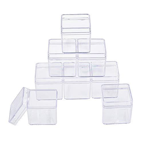 BENECREAT 18 Pack Caja de Contenedores de Plástico Caja Cuadrados de Alta Transparencia para Artículos de Belleza, Cuentas Pequeñas, Hallazgos de Joyería y Otros Artículos Pequeños - 4x4x4cm