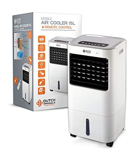 DUTCH ORIGINALS Refroidisseur d'air mobile ventilateur 65 W, Refroidisseur d'air économe 15 L 3 vitesses, Rafraîchisseur d'air avec télécommande, Mode oscillation