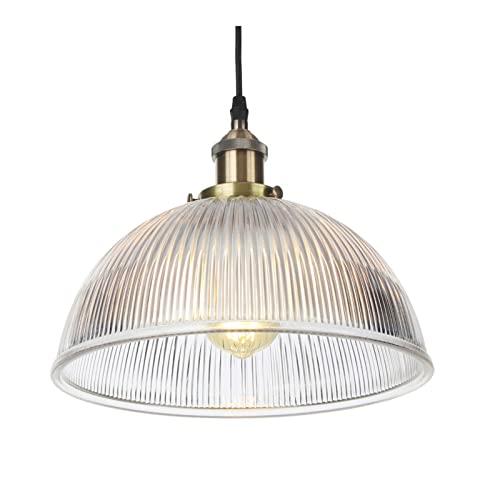 Lámparas colgantes, iluminación ajustable en altura de metal industrial vintage, lámparas de techo colgantes con pantalla de vidrio para baño de cocina,Bronce
