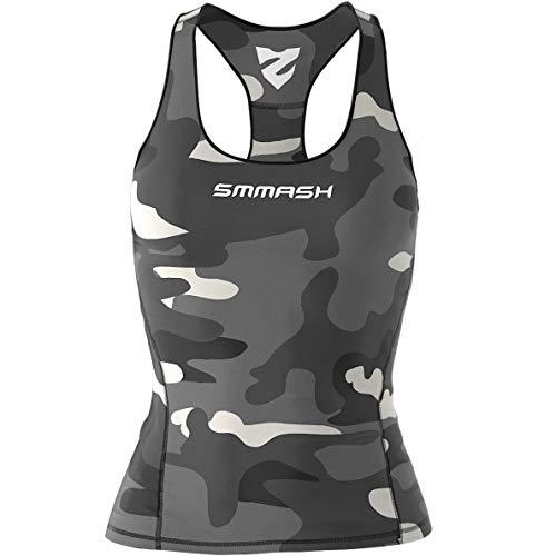 SMMASH Camo Sport Top Tank para Mujer, Camiseta de Tirantes Deportivas, Camiseta sin Manga para Fitness, Yoga, Formación, Material Transpirable y Antibacteriano, (M)