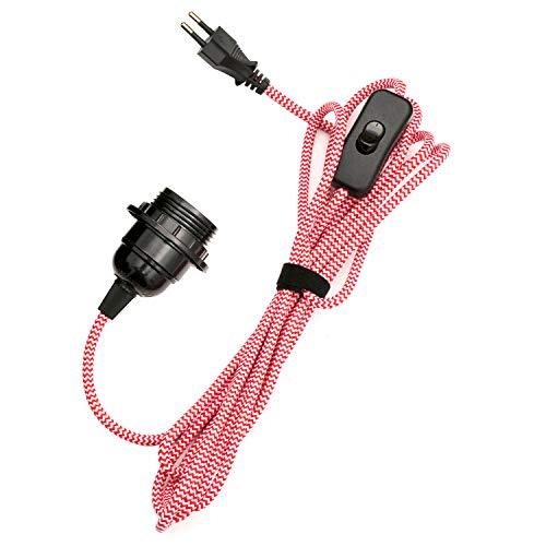 E27 Fassung mit Schalter und Stecker E27 Lampenfassung mit 3.5m Textilkabel Netzkabel Lampensockel Lampenkabel Fraben PEBA für Pendelleuchte Lampenaufhängung Kabel